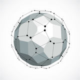 Abstract 3d faceted figure with connected black lines and dots. Vector low poly grayscale design element created with squares and pentagons. Cybernetic orb vector illustration