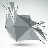 Abstract 3d faceted figure with connected black lines and dots. Vector low poly shattered design element with fragments and particles. Explosion effect stock illustration