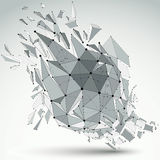 Abstract 3d faceted figure with connected black lines and dots. Vector low poly shattered design element with fragments and particles. Explosion effect royalty free illustration