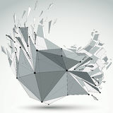 Abstract 3d faceted figure with connected black lines and dots. Vector low poly shattered design element with fragments and particles. Explosion effect vector illustration