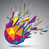 Abstract 3d faceted figure with connected lines and dots. Vector. Low poly shattered design element with fragments and particles. Explosion effect royalty free illustration