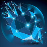 Abstract 3d faceted radiance blue figure with connected black li Royalty Free Stock Photo