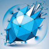 Abstract 3d faceted radiance blue figure with connected black li Stock Image