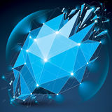 Abstract 3d faceted radiance blue figure with connected black li Stock Photography