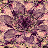 Abstract 3D flower with a detailed decorative flower of life symbol, all in dark pastel sepia tinted pink and purple Royalty Free Stock Photos