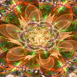 Abstract 3D flower with a detailed decorative flower of life symbol, all in shining orange,green,purple. Abstract 3D flower with detailed petals coming out of Stock Photo