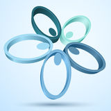 Abstract 3D flower. Icon on blue background Royalty Free Stock Image