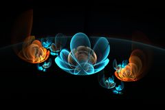 Abstract 3d flowers on black background, fractal image in blue and orange colors Royalty Free Stock Images
