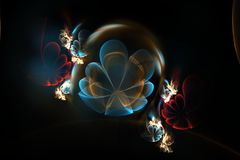 Abstract 3d flowers in a glass sphere. Fractal in blue and red colors. Abstract 3d flowers on black background. Creative fractal design in blue and red colors Stock Images