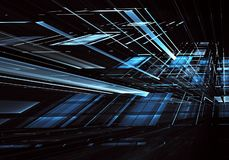 Abstract 3D fractal background, texture. Virtual Neon City. Computer generated abstract tehnology image. Three-dimensional 3D fractal, texture royalty free illustration