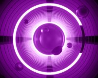Abstract 3d futuristic background illustration. Geometrical neon. Violet circles are spiraling into a tunnel with a bright glow. Template cover concept for a Royalty Free Illustration
