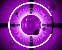 Abstract 3d futuristic background illustration. Geometrical neon. Violet circles are spiraling into a tunnel with a bright glow. Template cover concept for a Vector Illustration