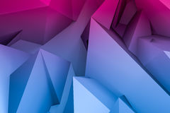 Abstract 3d geometric background. In blue and red colors, computer rendering Royalty Free Stock Image