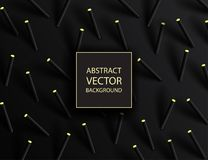 Abstract 3d geometric background with cylinder shapes. Vector. Realistic illustration of black and golden capsules with shadows. Modern minimalistic design vector illustration