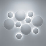 Abstract 3d geometric background. With sphere decoration elements and illumination on gray wall Stock Photography