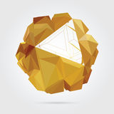 Abstract 3D geometric illustration. Gold sphere over white background Royalty Free Illustration