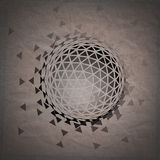 Abstract 3D geometric illustration. Sphere on crumpled paper background royalty free illustration