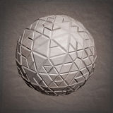 Abstract 3D geometric illustration. Sphere on crumpled paper background Stock Illustration
