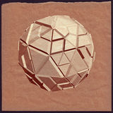 Abstract 3D geometric illustration. Sphere on crumpled paper background vector illustration