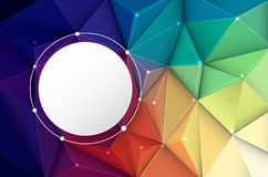 Abstract 3D Geometric, Polygon, Triangle pattern. Vector illustration white paper circle label on Abstract 3D Geometric, Polygonal, Triangle pattern shape and Stock Image