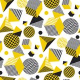Abstract 3d geometric seamless pattern. In yellow and balck color. Volume illusion geometry shapes repeatable motif. Graphic element for surface design, fabric Royalty Free Illustration