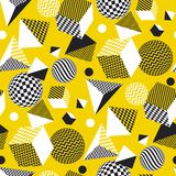 Abstract 3d geometric seamless pattern. In yellow and balck color. Volume illusion geometry shapes repeatable motif. Graphic element for surface design, fabric Stock Illustration