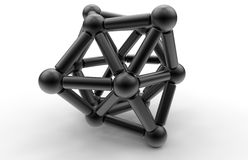 Abstract 3D geometric shape. 3D rendered illustration of an abstract geometric shape created with multiple spheres and cylinders. The composition is isolated on Royalty Free Stock Photos