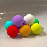 Abstract 3D geometric shapes. Spheres. Abstract 3D colorful geometric shapes. Sphere figures Stock Photo