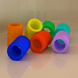 Abstract 3D geometric shapes. Tubes. Abstract 3D colorful geometric shapes. Tube figures Stock Images