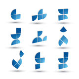 Abstract 3d geometric simple symbols set, vector abstract icons. Royalty Free Stock Photos