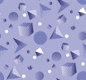 Abstract 3d geometric violet seamless pattern. Volume illusion geometry shapes repeatable motif. Graphic element for surface design, fabric, wrapping paper Royalty Free Illustration