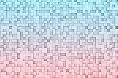 Abstract 3d Geometrisch Kubus Achtergrondontwerppatroon in Rode en Blauwe Kleurengradiënt Stock Afbeelding
