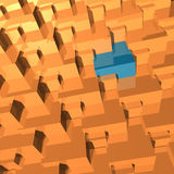 Abstract 3D geometry. Polygonal rendered geometry made of blocks. Light and shade stock illustration
