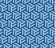 Abstract 3d gestreept kubussen geometrisch naadloos patroon in blauw en wit, vector stock illustratie