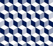 Abstract 3d gestreept kubussen geometrisch naadloos patroon in blauw en wit, vector Stock Foto