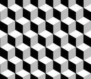 Abstract 3d gestreept kubussen geometrisch naadloos patroon in zwart-wit, vector Royalty-vrije Stock Afbeeldingen