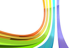 Abstract 3D glass bars. On white background 3D rendering. Color glass curves with copy space royalty free illustration