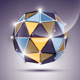 Abstract 3D gleam sphere with geometric, glossy orb created from Royalty Free Stock Image