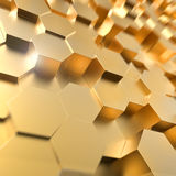 Abstract 3D gold hexagon 3D background. Stock Photography