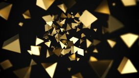 Abstract 3D gold pyramids flow. On black background. 3D rendering. Digital modern horizontal background with bokeh effect royalty free illustration