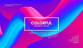 Abstract 3d Background. Colorful Wave Fluid Shape. Abstract 3d Gradient Background with Colorful Liquid. Modern Wave Flow Shape. Vector Illustration. Trendy 3d Stock Illustration