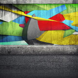 Abstract 3d graffiti fragment on the concrete wall. Photo collage with 3d illustration elements royalty free illustration