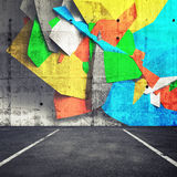 Abstract 3d graffiti fragment on wall of parking interior. Abstract 3d graffiti fragment on the wall of concrete parking interior. Photo collage with 3d stock illustration