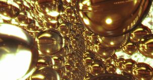 Abstract 3D graphics Background with golden bubbles. Motion graphic, digital texture royalty free illustration