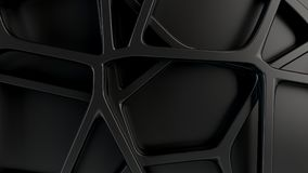 Abstract 3d grate on black background. Abstract black 3d grate on black background. Speaker grille. Chaotic line structure. 3D render illustration Stock Illustration