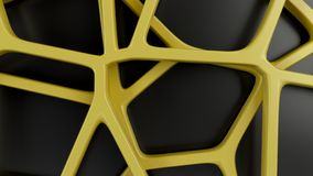 Abstract 3d grate on black background. Abstract yellow 3d grate on black background. Speaker grille. Chaotic line structure. 3D render illustration royalty free illustration