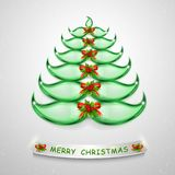 Abstract 3D Green Christmas Tree. Glass and lightened Christmas tree for creative design. Merry Christmas stylish 3D green tree. Abstract Green Christmas Tree stock illustration