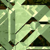 Abstract 3d green and yellow background of blocks with facets and reflections. Green, yellow and black pattern of polygonal blocks stock illustration