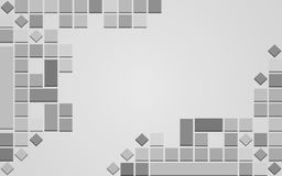 Abstract 3D grey background with copy space. Abstract geometric background with 3D squares and rhombuses and copy space in grey scale. creative futuristic Stock Illustration
