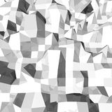 Abstract 3D grey polygonal geometry. Polygonal rendered geometry made of blocks. Light and shade stock illustration